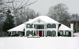 Beautiful house in winter Royalty Free Stock Images