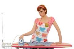 Beautiful house woman ironing . isolated Stock Photo