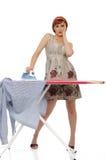 Beautiful house woman ironing mens shirt Royalty Free Stock Images