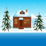 Beautiful house beside yard in winter Royalty Free Stock Photos