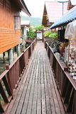 Beautiful house yard and wooden bridges. Image Royalty Free Stock Images
