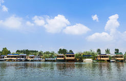 Beautiful Houseboats and Hotels at Dal Lake, Srinagar Royalty Free Stock Photo