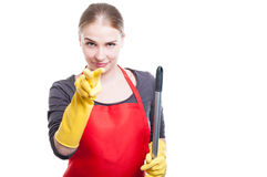 Beautiful housemaid is looking at you Royalty Free Stock Image