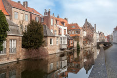 Beautiful houses along the canals of Brugge, Belgium. Tourism destination in Europe Stock Photo