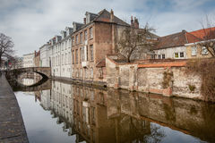 Beautiful houses along the canals of Brugge, Belgium. Tourism destination in Europe Royalty Free Stock Image