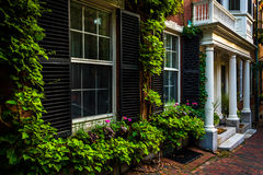 Beautiful houses in Beacon Hill, Boston, Massachusetts. Royalty Free Stock Photo