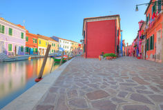 Beautiful houses of Burano island Stock Photos