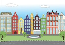 DOMIKI V SBORE. Beautiful houses on the city street vector illustration