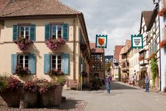 The beautiful houses in Eguisheim village in France royalty free stock photography