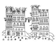 Beautiful houses with flowers contour sketch illustration. Beautiful street with houses with flowers on the roof, contour doodle sketch illustration royalty free illustration