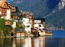 Beautiful houses at the lake in Hallstatt Stock Photo