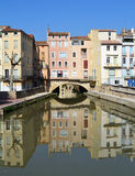 Beautiful houses in Narbonne, France Stock Photography