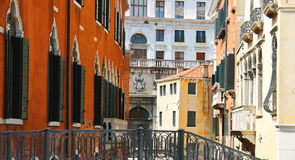 Beautiful houses on a narrow street in Venice Royalty Free Stock Image