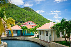 Beautiful houses at Philipsburg, St Maarten royalty free stock images