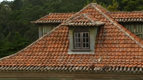 Beautiful houses in quiet residential district with tiled red roofs, sequence. Stock footage stock video