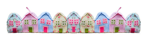 Beautiful houses sewn from fabric Stock Photography