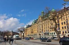 Beautiful houses at Strandvägen. On a beautiful spring day walk on Strandvägen in Stockholm Royalty Free Stock Image