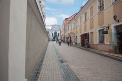 Beautiful houses in the street in old town of Vilnius, Lithuania August 2013 Stock Photography