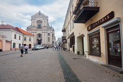 Beautiful houses in the street in old town of Vilnius, Lithuania August 2013 Royalty Free Stock Photography