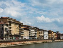 Beautiful houses and streets of the fabulous city of Pisa royalty free stock photos
