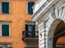 Beautiful houses and streets of the fabulous city of Pisa royalty free stock photo