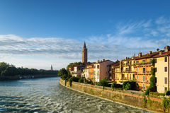 Beautiful houses on waterfront of Adige River, Verona Stock Photos