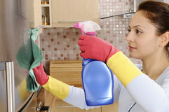 beautiful housewife cleaning the house Royalty Free Stock Image