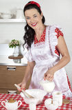 Beautiful housewife cooking Royalty Free Stock Photos