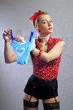 Beautiful housewife hangs out shorts Stock Image