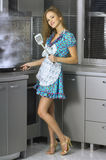 Beautiful housewife in the kitchen Stock Photo