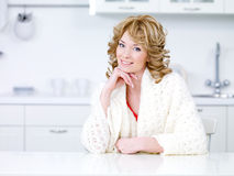 Beautiful housewife in the kitchen Stock Photos
