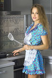 Beautiful housewife in modern kitchen Stock Images