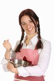 Beautiful housewife preparing with egg beater Royalty Free Stock Photos