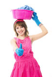 Beautiful Housewife With A Basin Royalty Free Stock Image