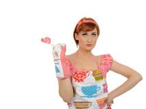 Beautiful housewife woman with lollipop Royalty Free Stock Photo