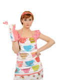 Beautiful housewife woman with lollipop Stock Photography