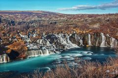 The beautiful Hraunfossar waterfalls of Iceland stock photography