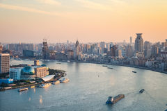 Beautiful huangpu river at dusk Stock Images