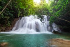 Beautiful Huay Mae Khamin waterfall in tropical rainforest at Sr Stock Images