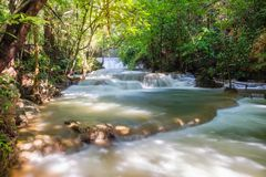 Beautiful Huay Mae Khamin waterfall in tropical rainforest at Sr Royalty Free Stock Images