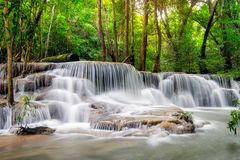 Beautiful Huay Mae Khamin waterfall in tropical rainforest at Sr Stock Photo