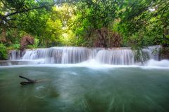 Beautiful Huay Mae Khamin waterfall in tropical rainforest at Sr Stock Photos