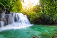 Beautiful Huay Mae Khamin waterfall in tropical rainforest at Sr Royalty Free Stock Image