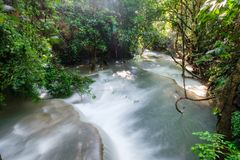 Beautiful Huay Mae Khamin waterfall in tropical rainforest at Sr Stock Photography
