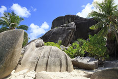 Beautiful huge granite boulders on the beach Anse Royalty Free Stock Photography