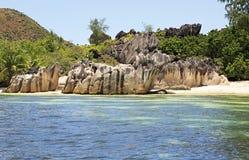 Beautiful Huge granite boulders on beach at Royalty Free Stock Photos