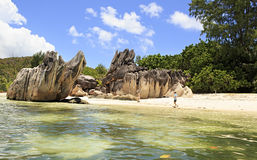 Beautiful Huge granite boulders on beach at Royalty Free Stock Photography