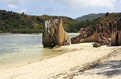 Beautiful Huge granite boulders on beach at Curieuse Island in Indian Ocean Stock Photos