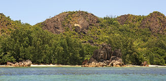 Beautiful Huge granite boulders on beach at Curieuse Island in Indian Ocean. Stock Images