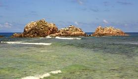Beautiful Huge granite boulders on Cousin Island in Indian Ocean. Seychelles. Beautiful Huge granite boulders on Cousin Island in the Indian Ocean. Seychelles Stock Images